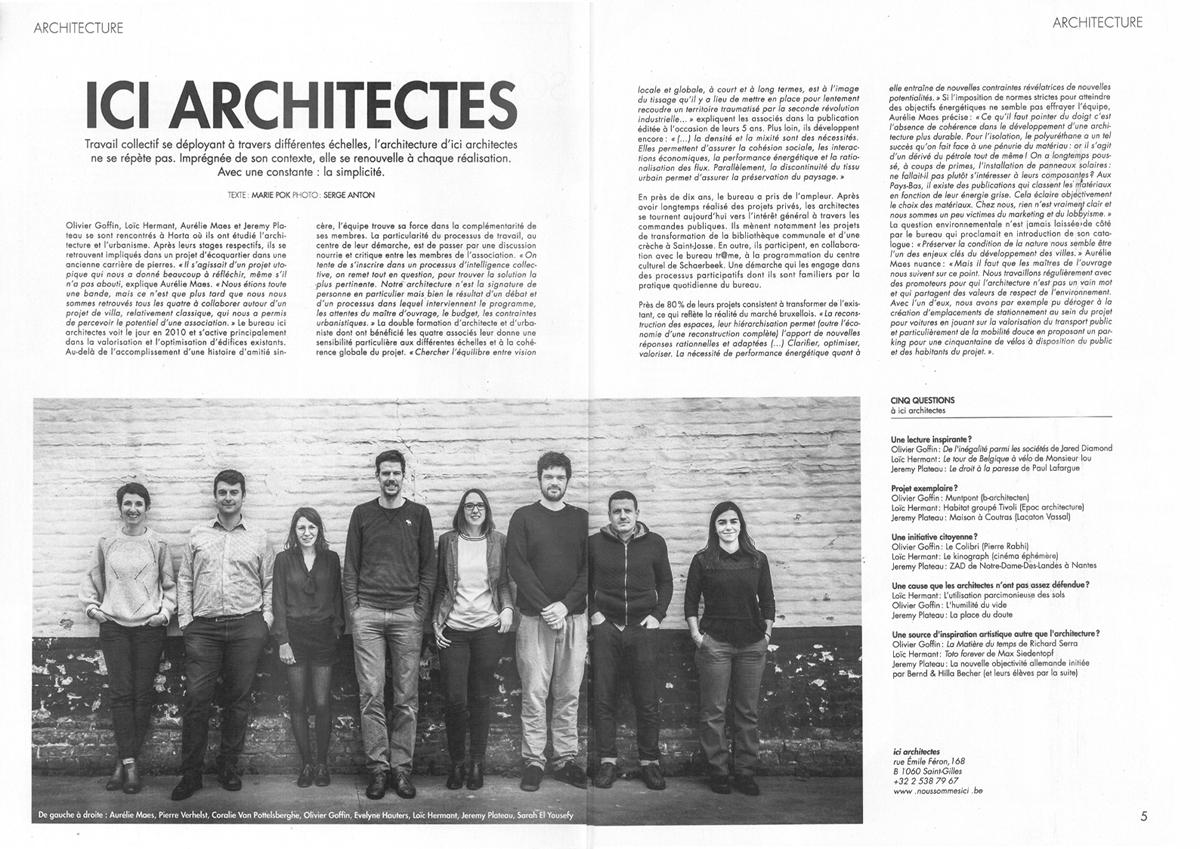 ICI architectes dans la Libre Immo